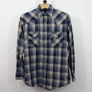 Plains Western Blue Plaid Cowboy Shirt